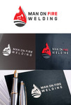 Man on fire welding Logo - Entry #50