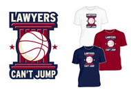 "charity basketball event logo (name with logo is ""lawyers can't jump"") - Entry #25"